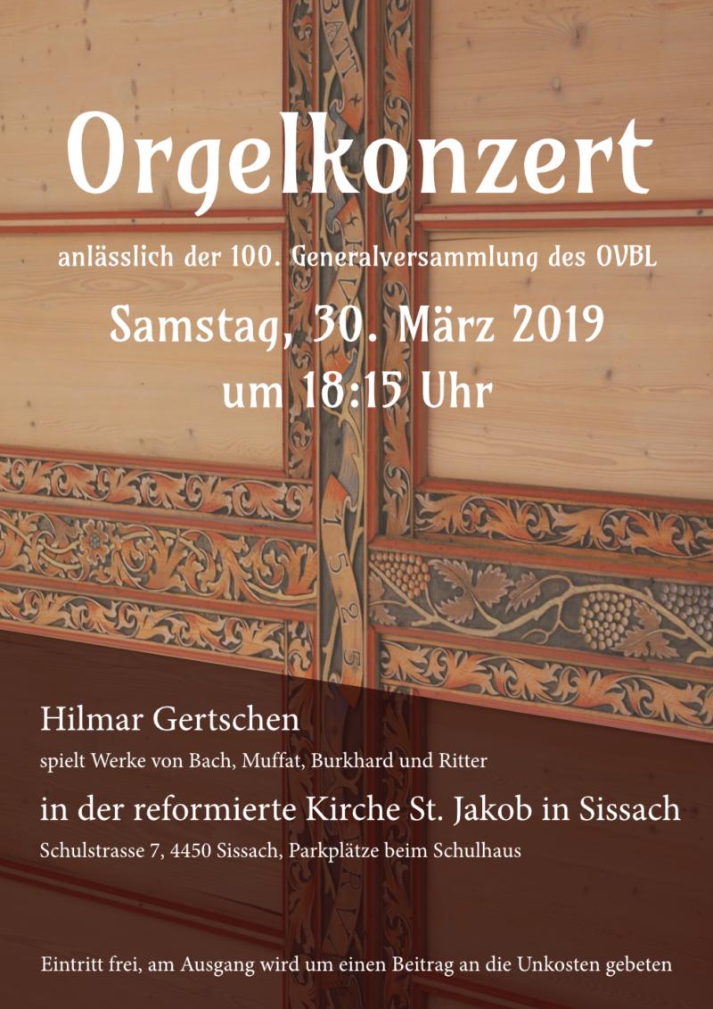 Orgelkonzert zur 100. Generalversammlung des OVBL